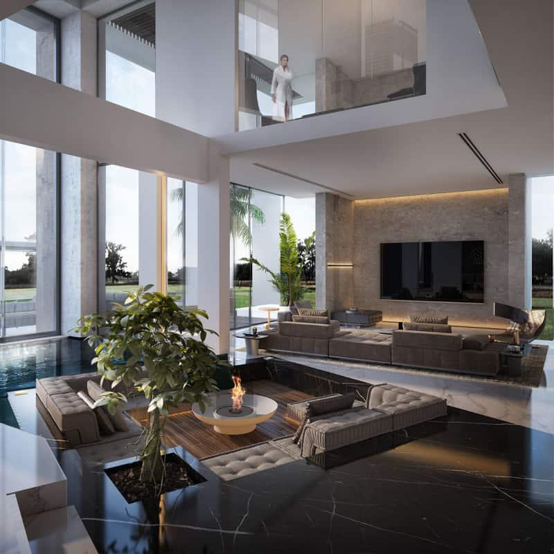 well designed sunken living room