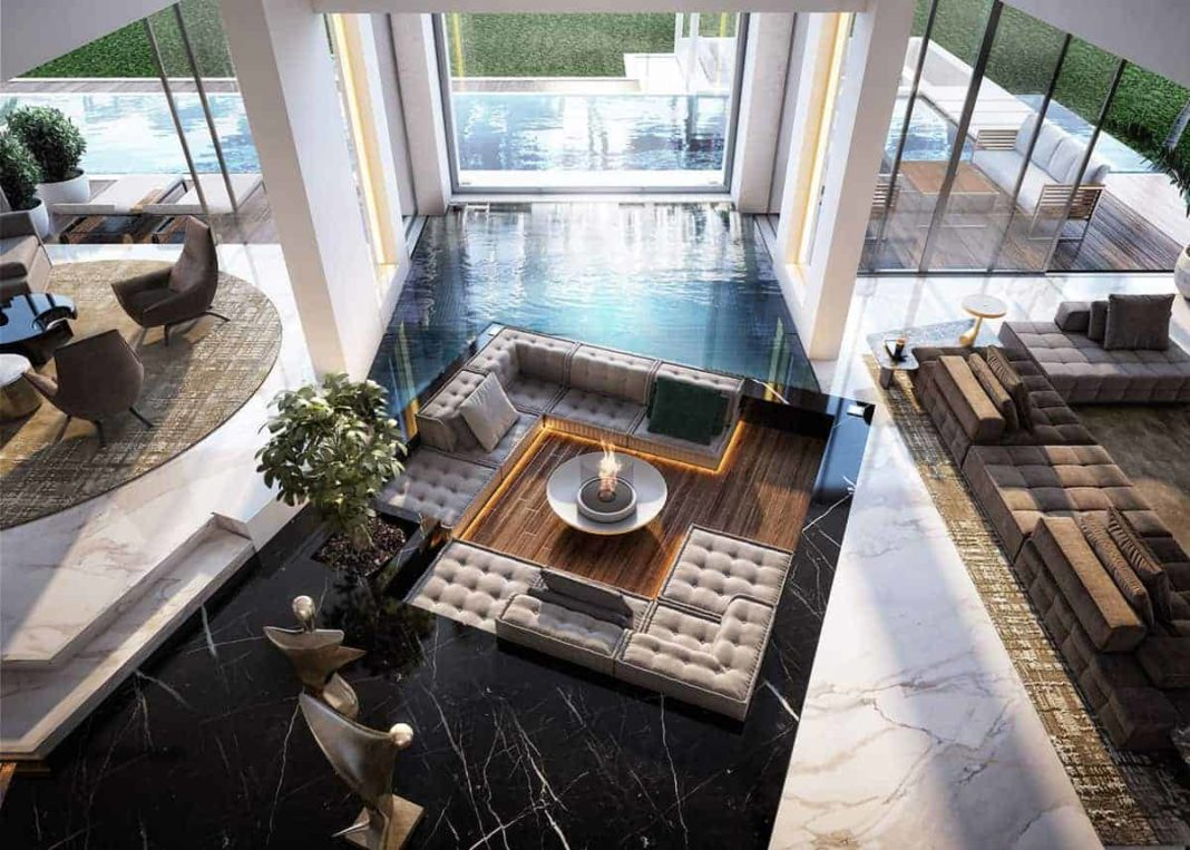 Contemporary-Luxury-Home-Open-Plan-High-Ceiling-Living-Room-Pool