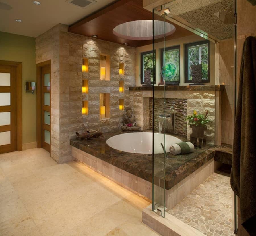 Round-Soaking-Tub-Asian-Bathroom-fireplace-mantel