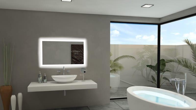 bathroom with backlit mirror