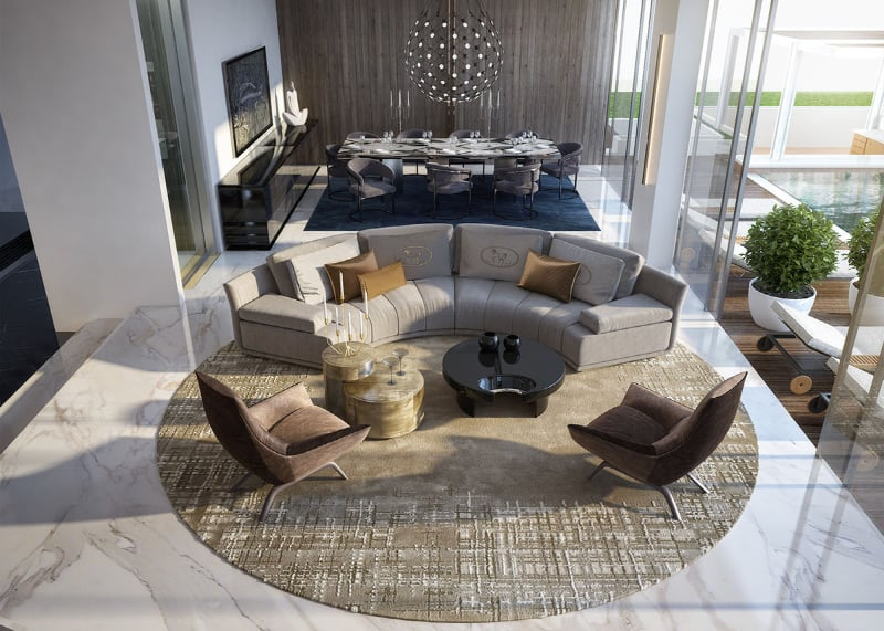 Mixing various materials and textures is a great way to approach your living room design