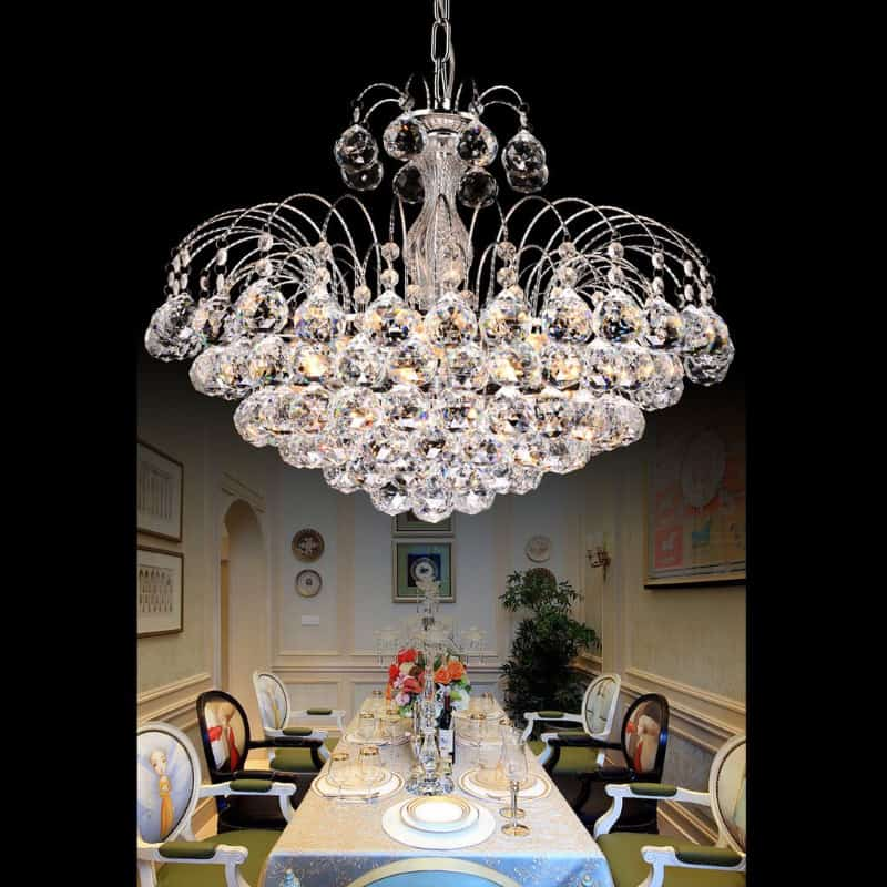 Beautiful chandelier over table