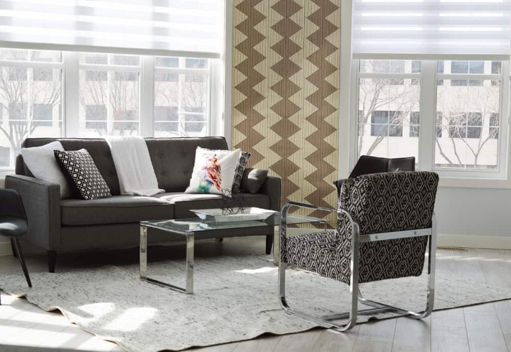 modern living room illustrating affordable home improvement